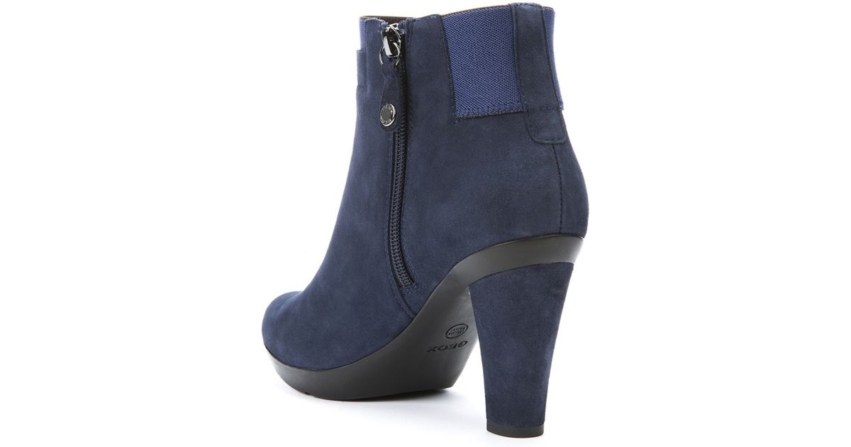1edd46b7d485a Geox Inspiration Block Heeled Ankle Boots in Blue - Lyst