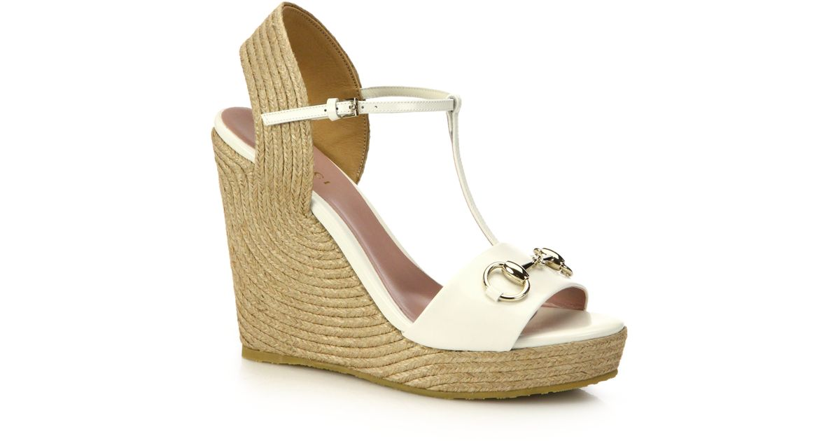 6e11b5045d9 Lyst - Gucci Patent Leather Horsebit Espadrille Wedge Sandals in White