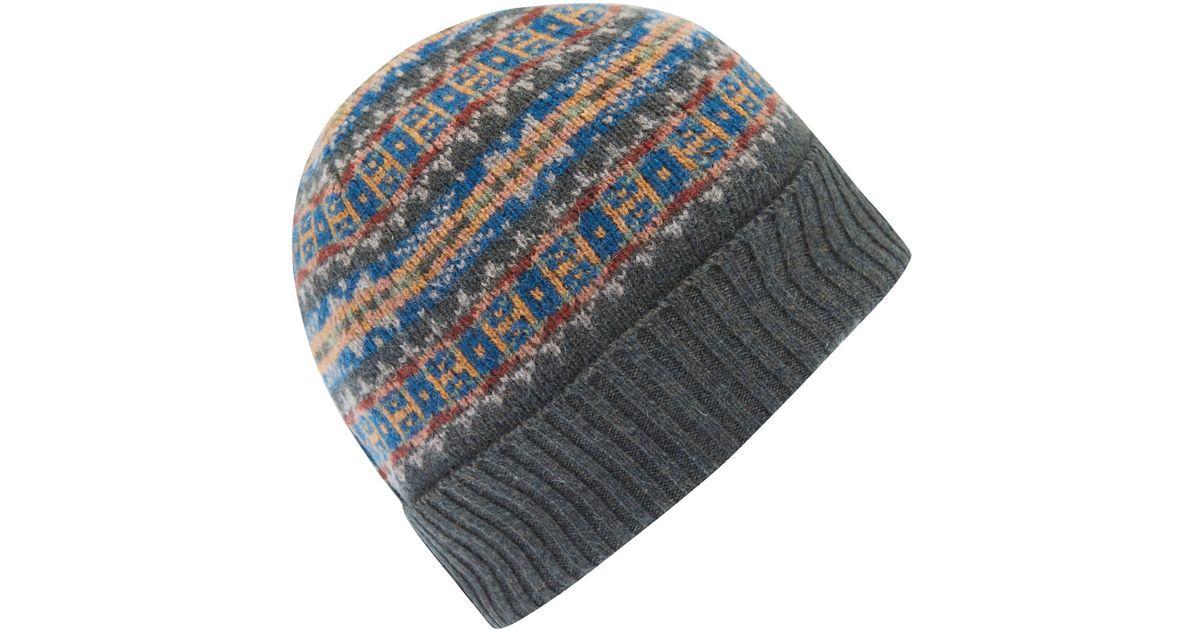 0edd1061519 Lyst - Barbour Grey Melrose Fairisle Wool Beanie in Gray for Men