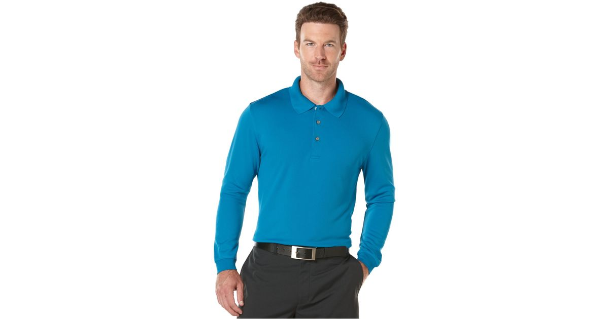 Lyst Pga Tour Performance Long Sleeve Golf Polo In Blue