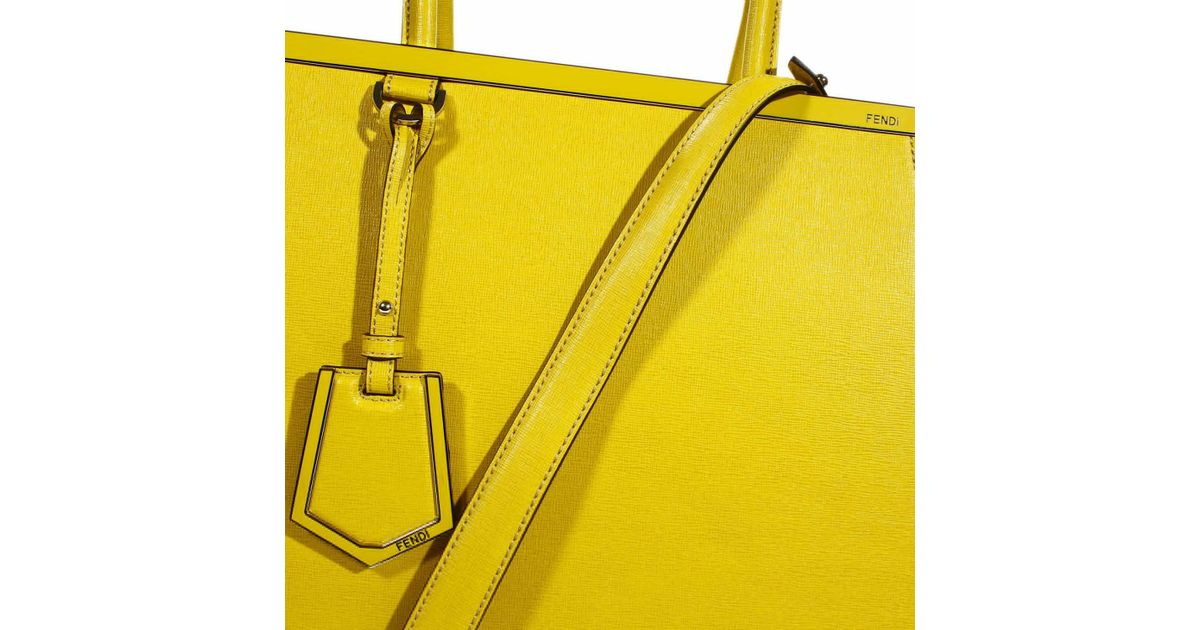 7bb7560d0929 ... ireland lyst fendi handbag 2 jours medium leather in yellow 74489 77fd5  ...