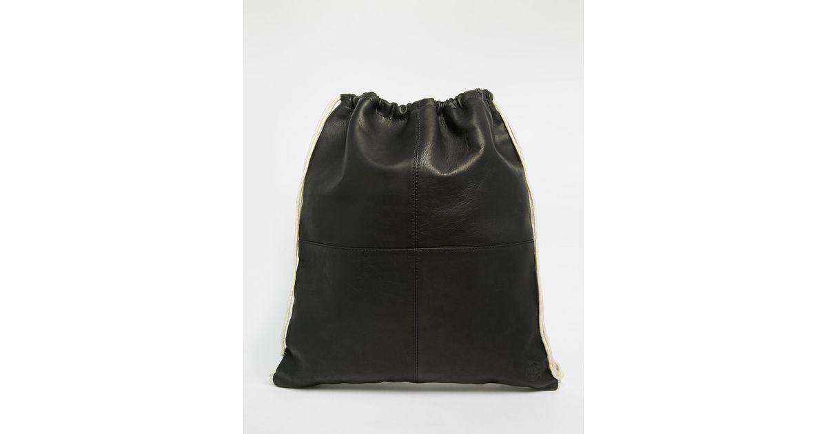 Lyst - Lyle   Scott Leather Drawstring Backpack - Black in Black for Men b3088c5565