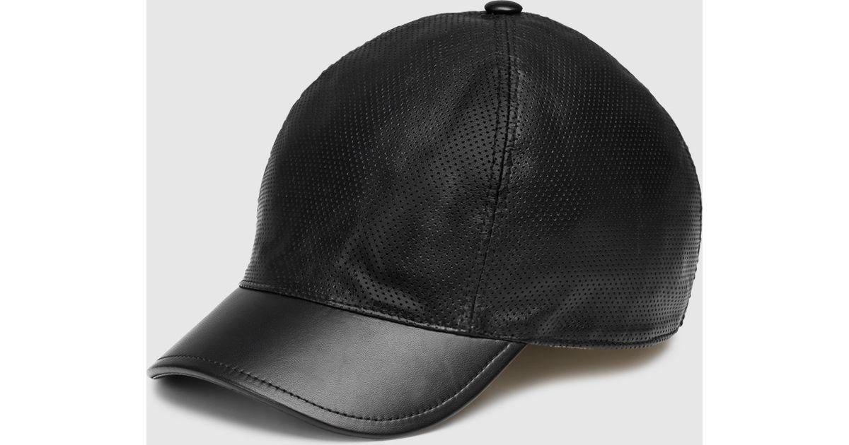 6c975355abb Lyst - Gucci Black Leather Baseball Hat in Black for Men