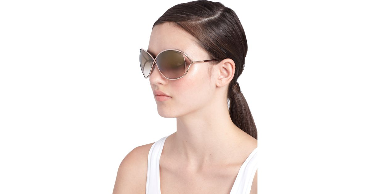 aa459e4987 Tom Ford Miranda Oversized Round Sunglasses in Brown - Lyst