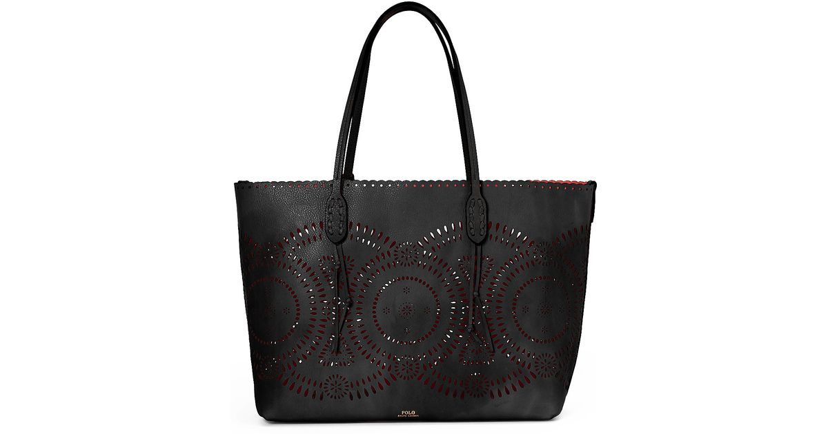 4c7e5aa46a9 ... best price lyst polo ralph lauren laser cut leather tote in black a8d3c  99e4d