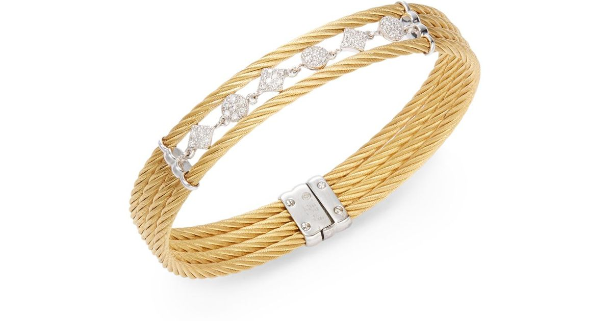 Lyst Charriol Celtic Clique Diamond Stainless Steel Channel Bracelet In Metallic