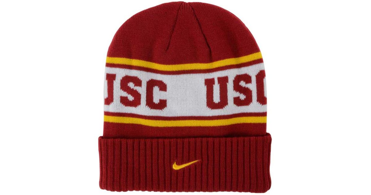 quality design 2b2f9 19c8e ... new zealand lyst nike usc trojans sideline knit hat in red for men  3da69 e96e4