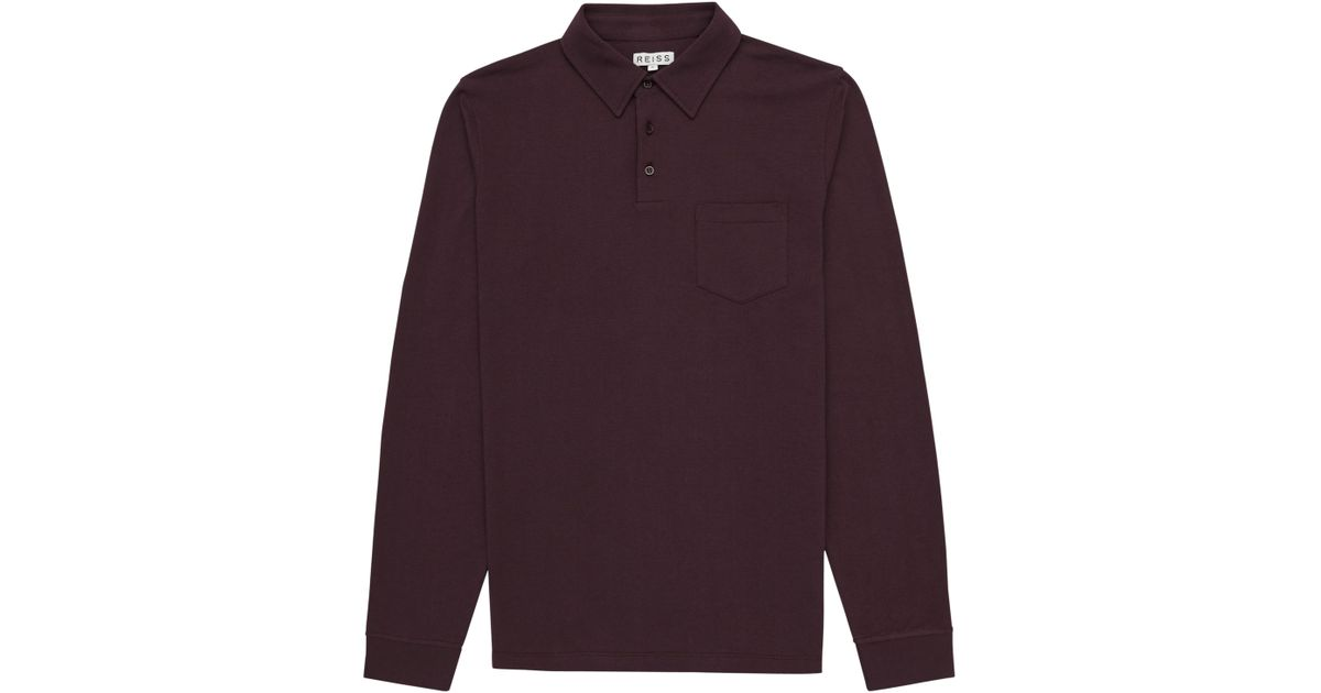 Reiss parry long sleeve polo shirt in black for men for Long sleeve purple polo shirt