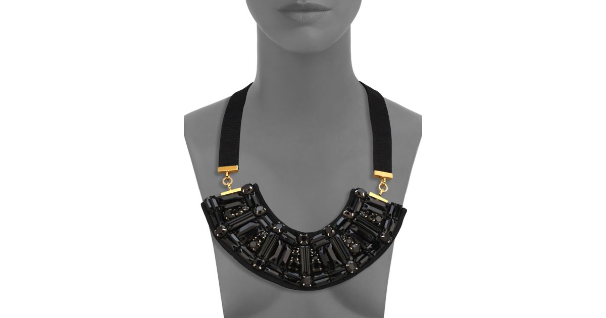 Lyst marni crystal bib ribbon necklace in black audiocablefo