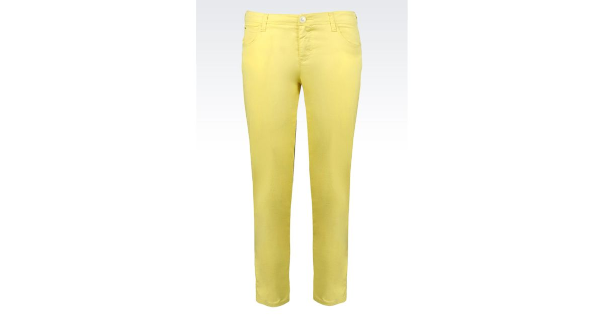 Lyst - Armani Jeans 5-Pocket Ankle-Length Trousers In Stretch Cotton  Gabardine in Yellow 9bd1b32b003