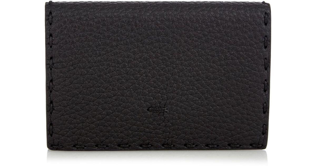 d89c5face20c Lyst - Fendi Selleria Grained-Leather Cardholder in Black for Men
