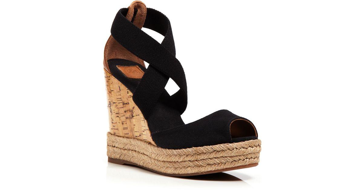 3597243e2aa Lyst - Tory Burch Peep Toe Canvas Platform Sandals - Cork Wedge Heel in  Black