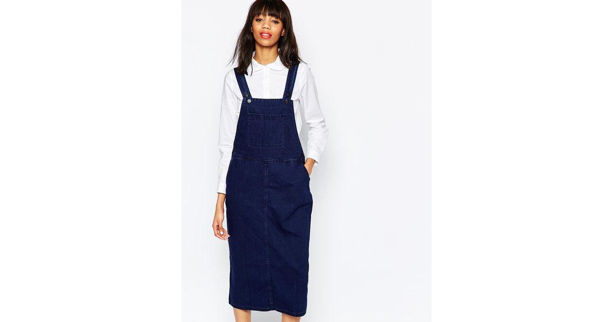 002477c9b7 Lyst - Monki Denim Dungaree Midi Dress in Blue