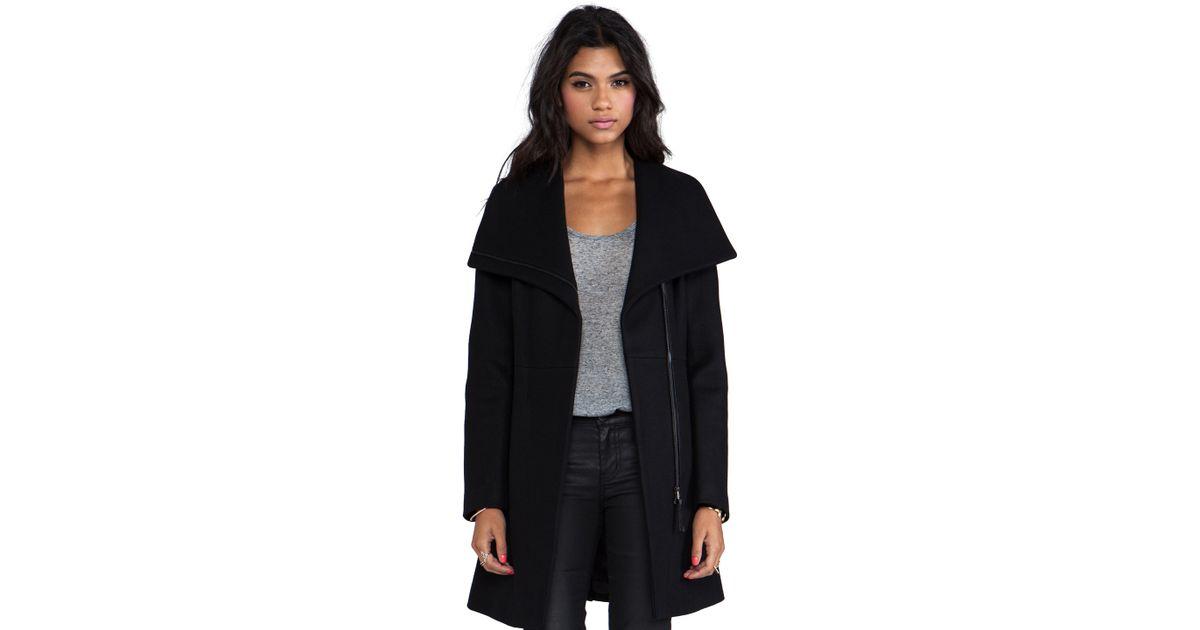 15ee70751 Mackage Valencia Flat Wool Coat in Black in Black - Lyst