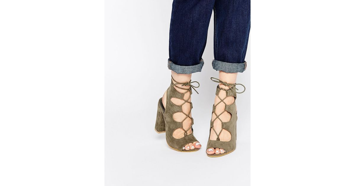0a6ceee4f6f1 Lyst - Public Desire Faye Khaki Ghillie Block Heeled Sandals - Green in  Green