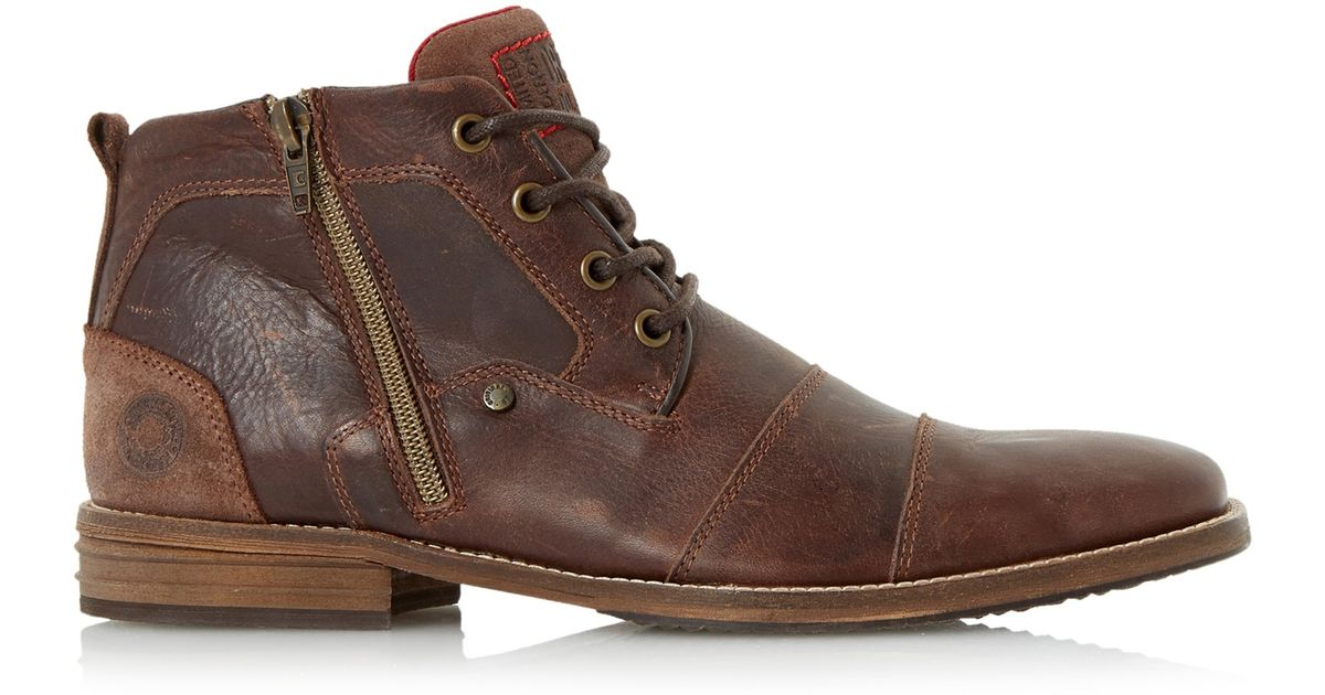 ba83667255e Dune Captain Double Toe Cap Detail Leather Boots in Brown for Men - Lyst