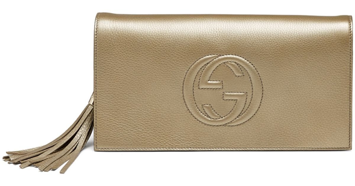 07c2f2e60d9 Lyst - Gucci Soho Metallic Leather Clutch Bag in Metallic