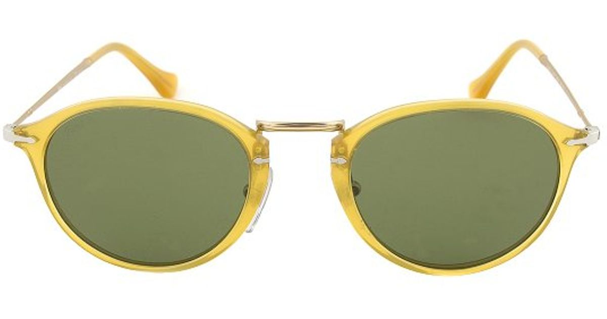 persol po3046s 204p1 vintage celebration polarized sunglasses yellow frame green lens in metallic lyst