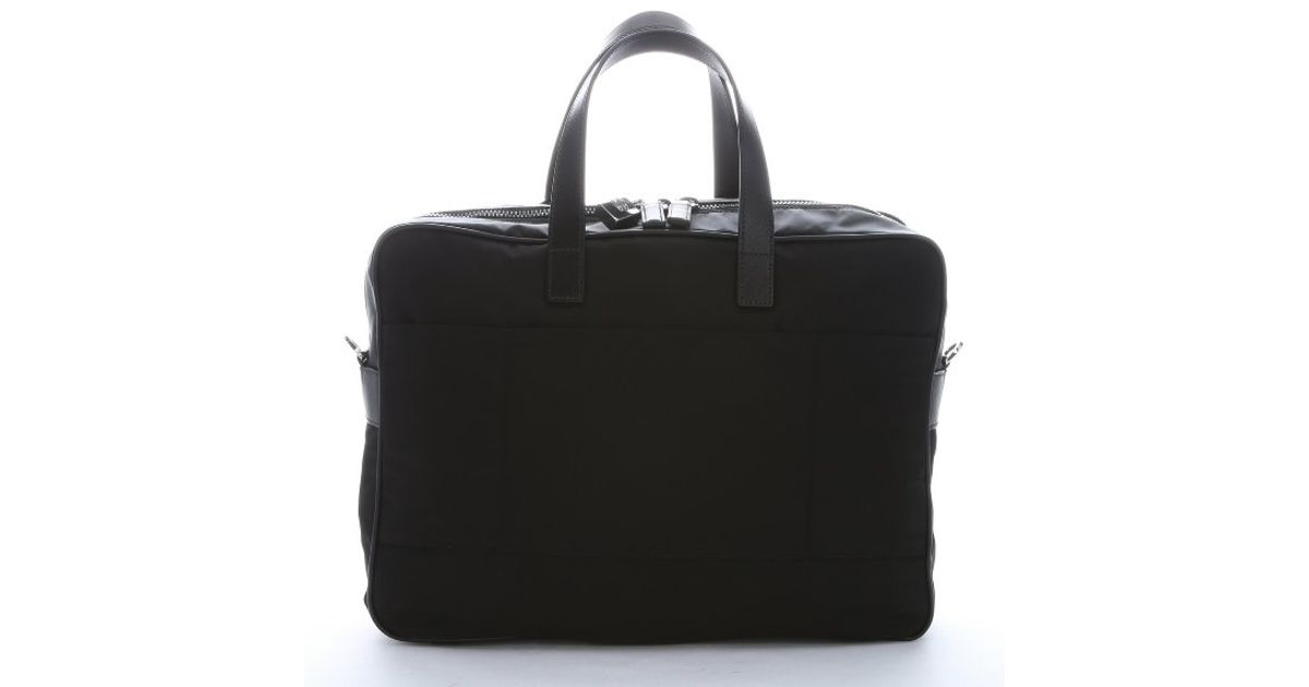 Prada Black Nylon And Leather \u0026#39;Viaggio\u0026#39; Laptop Briefcase Bag in ...