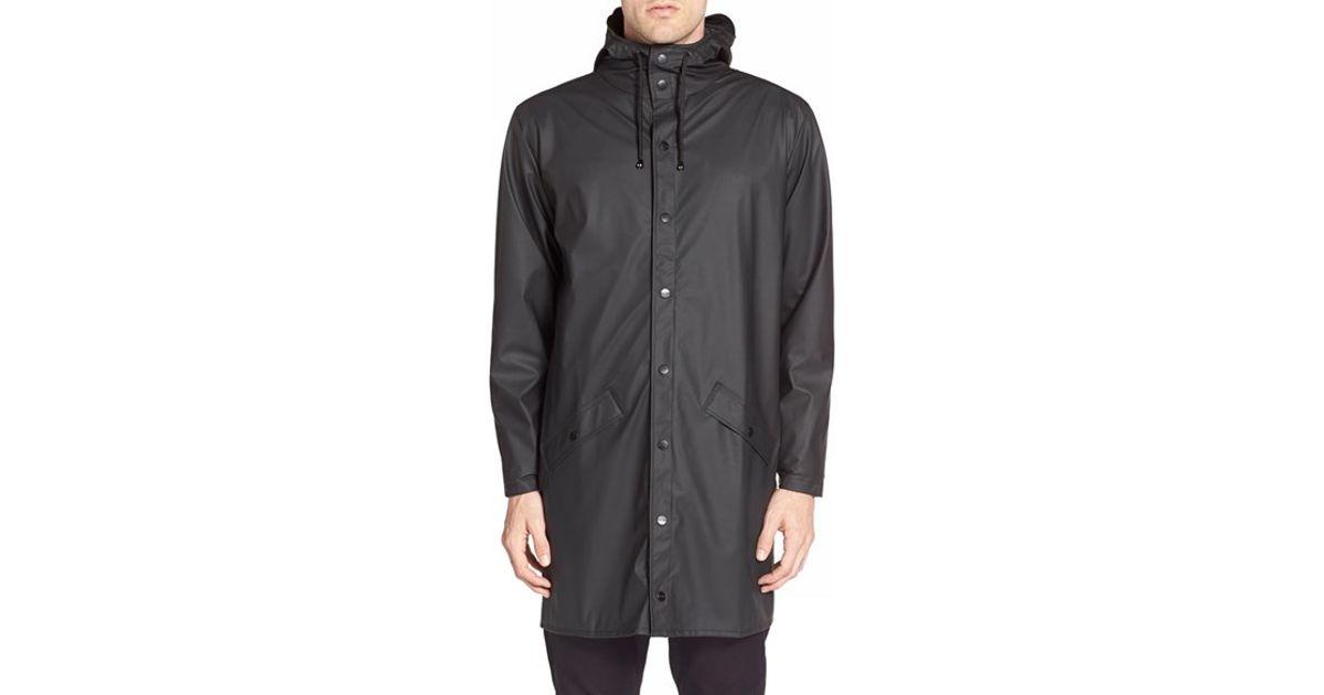 Rains Waterproof Hooded Long Rain Jacket In Black For Men