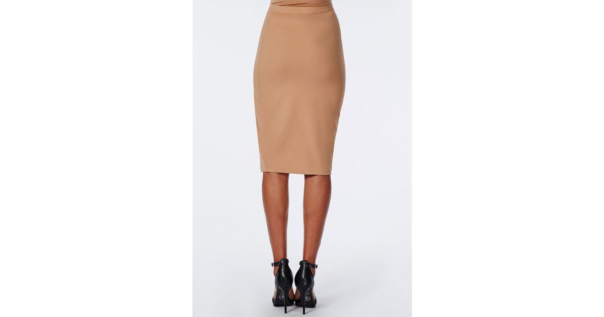 missguided thigh high split scuba midi skirt camel in