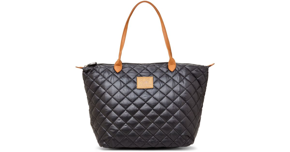 Lyst Its The Girl By Junior Drake Black Nylon Quilted Tote In Blue