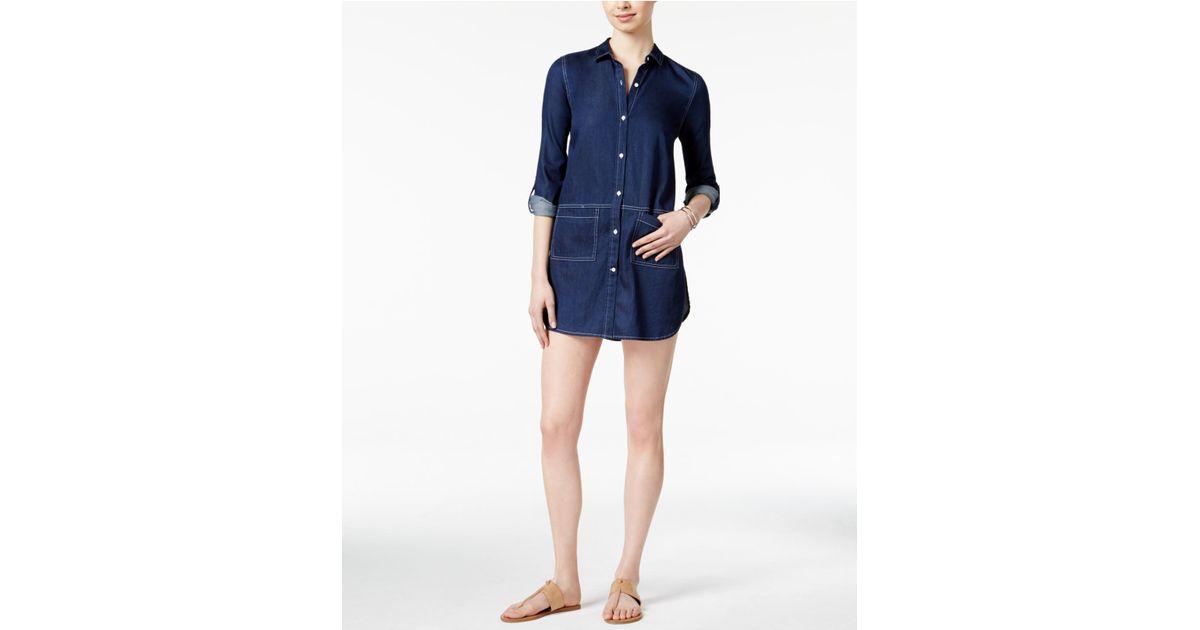 cdcadd7cc23 Lyst - Calvin Klein Denim Rinse Wash Shirtdress in Blue