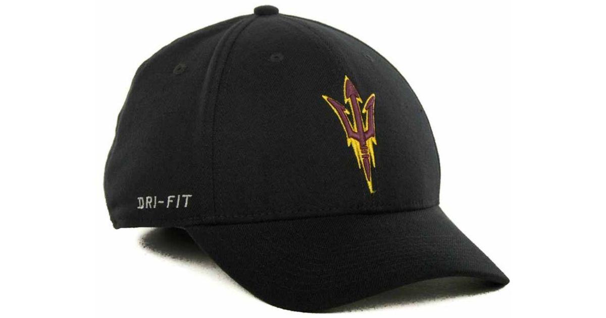 785316e2612 ... get lyst nike arizona state sun devils drifit swoosh flex cap in black  for men 23406