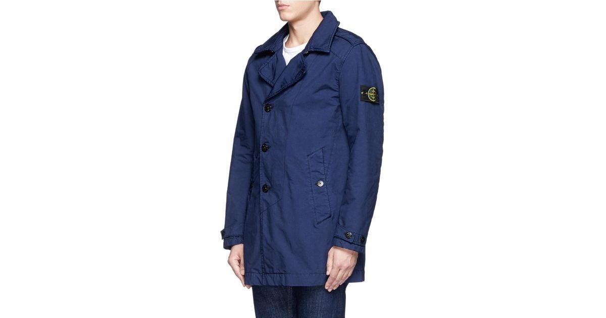 luxury aesthetic timeless design good looking Stone Island Blue 'david-tc' Mac Coat for men