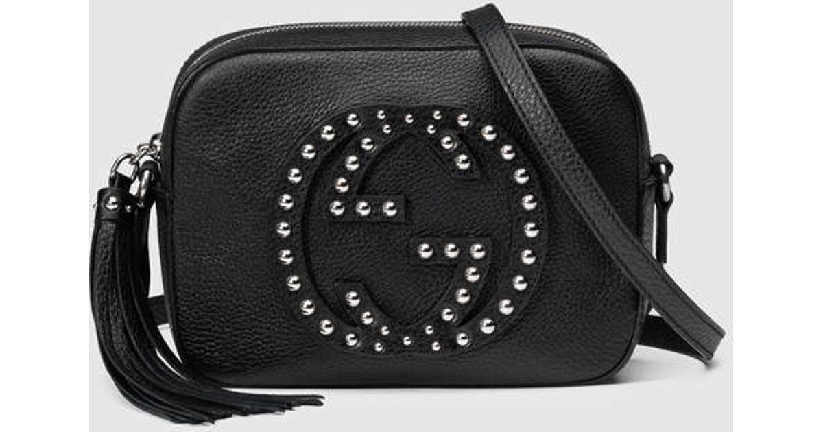 95fe32a1aa09 Lyst - Gucci Soho Studded Leather Disco Bag in Black