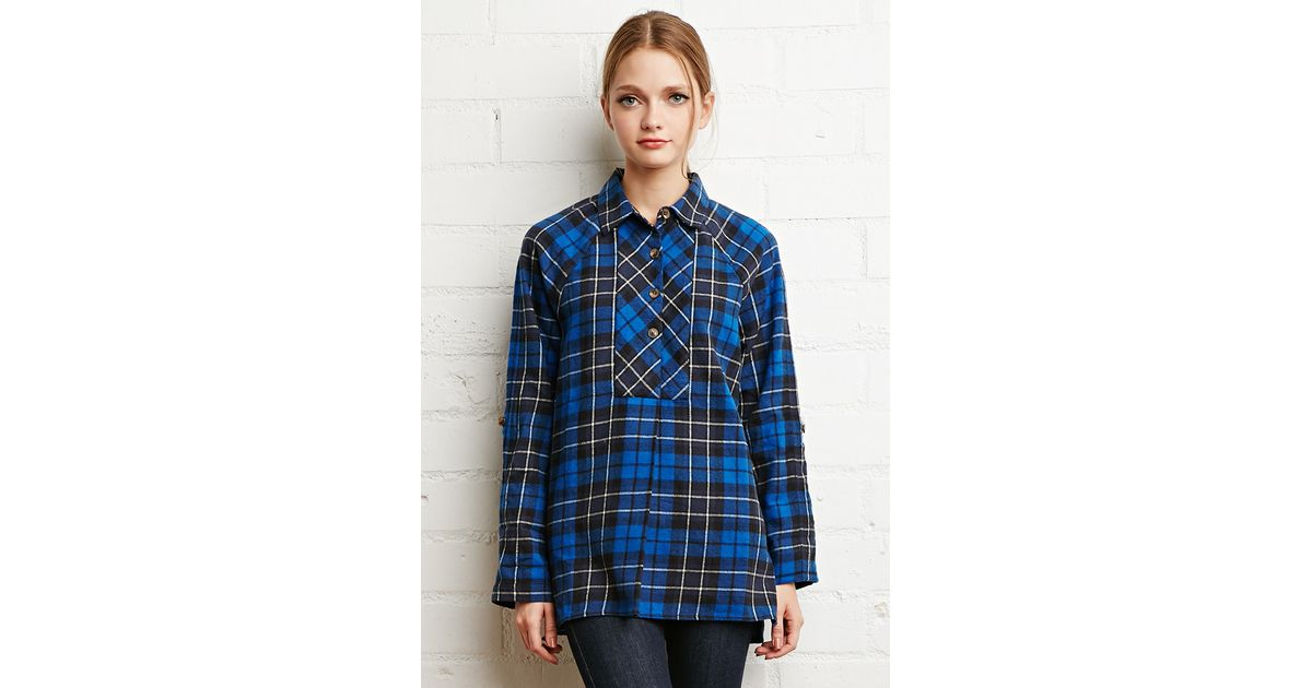 Forever 21 oversized plaid flannel top in blue lyst for Flannel shirts for womens forever 21
