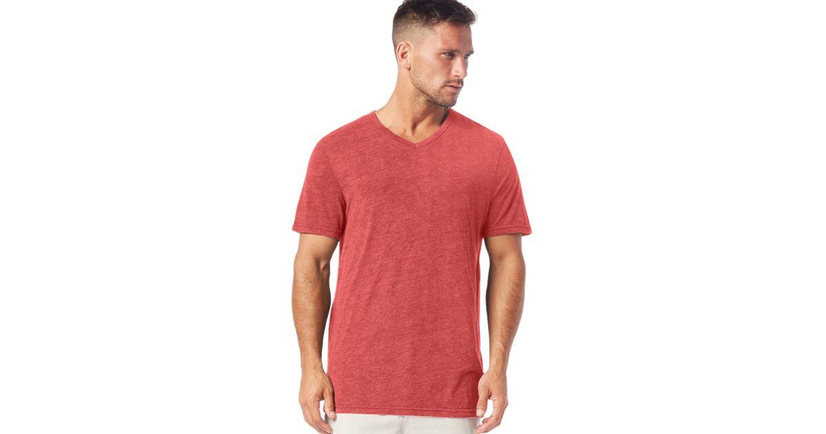 Michael Stars Short Sleeve Bamboo V Neck Tee In Red For