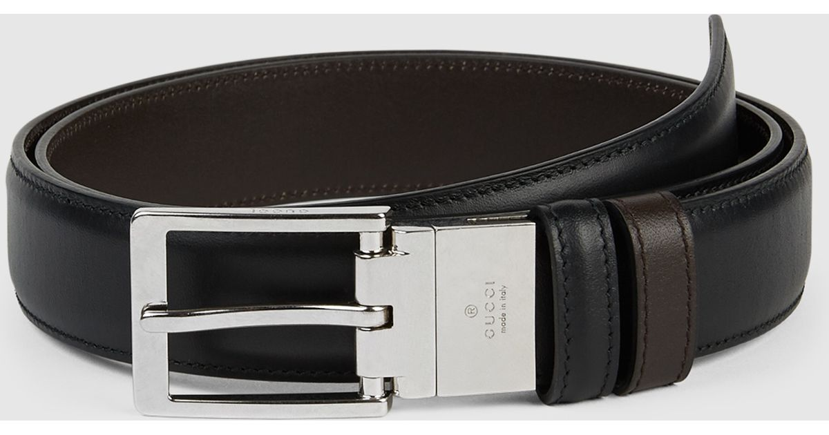 28fa7fd2259 Lyst - Gucci Reversible Leather Belt With Square Buckle in Black for Men
