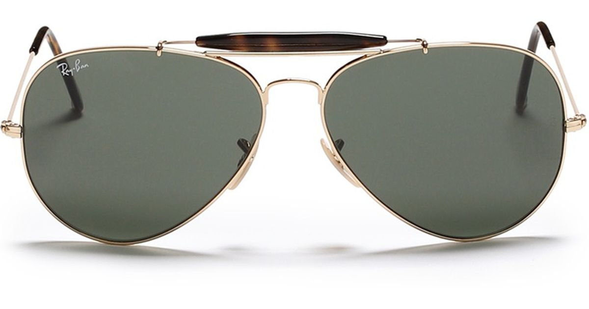 1a386203d5b Lyst - Ray-Ban  outdoorsman Ii  Tortoiseshell Brow Bar Aviator Sunglasses  in Green for Men