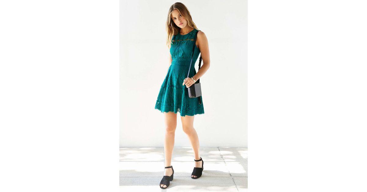 757e86149950 Lyst - Chandi   Lia Lace Fit + Flare Dress in Green