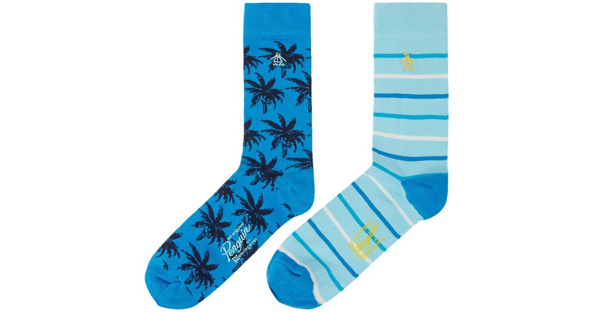 Original Penguin 2 Pack Palm Tree Ankle Socks In Blue For