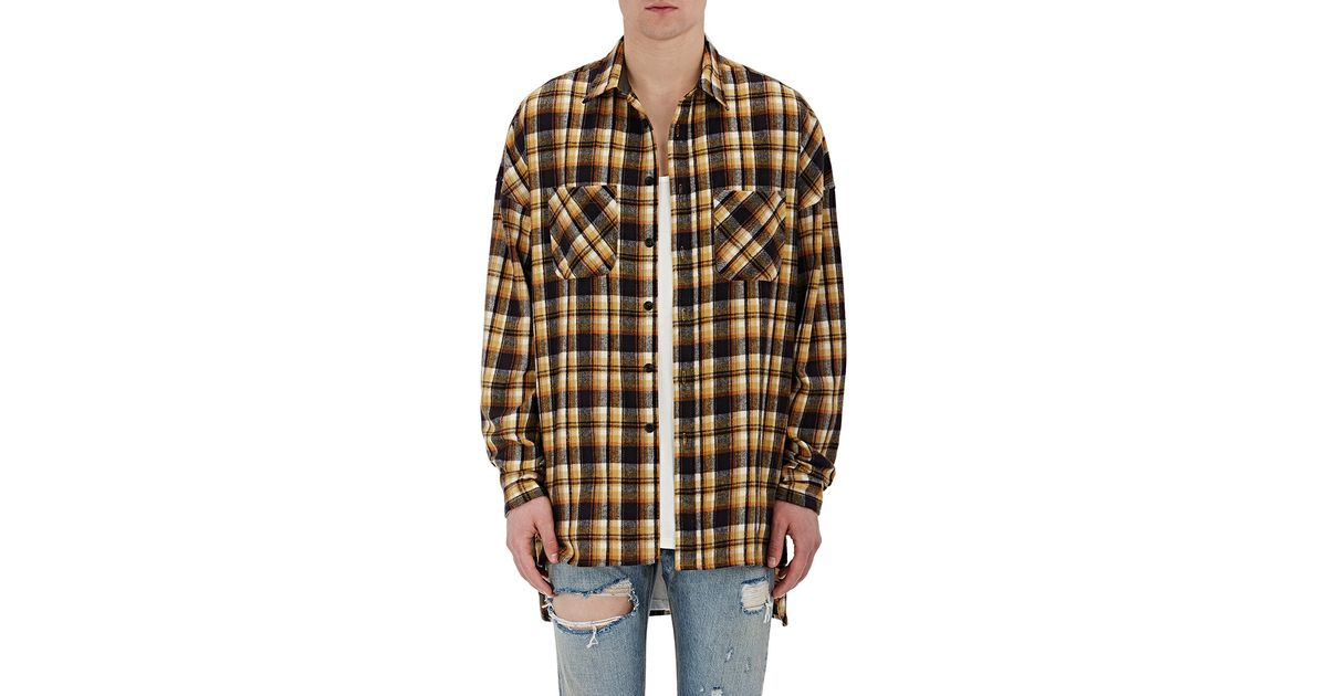 Fear of god plaid flannel shirt in yellow for men lyst for Blue and yellow plaid dress shirt