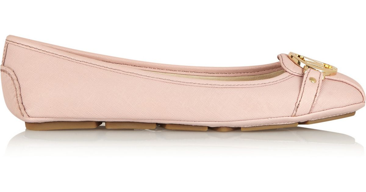 e53e0f630 MICHAEL Michael Kors Fulton Textured-Leather Ballet Flats in Pink - Lyst
