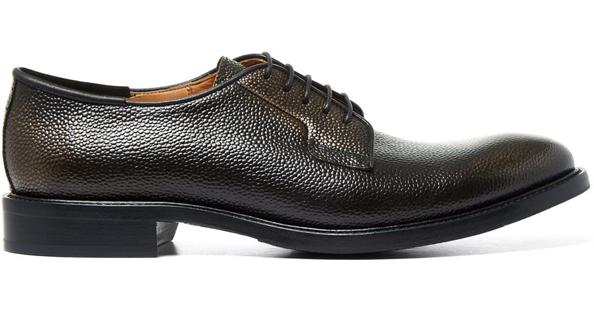paul smith black geffrey grained leather derby shoes in