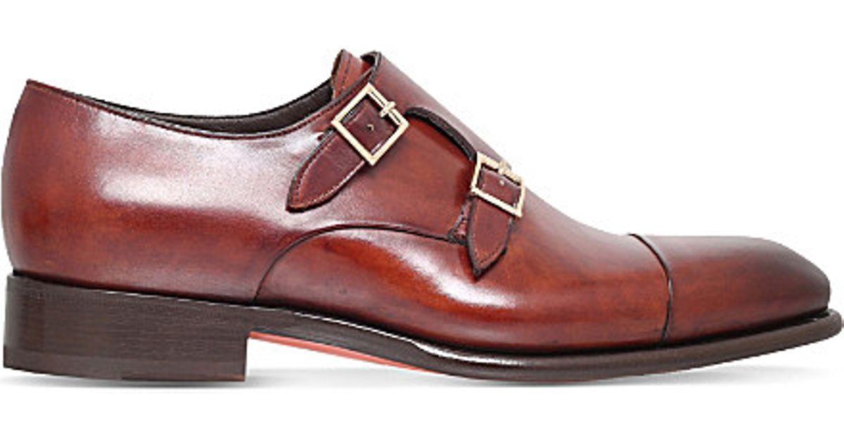 Red Double-Buckle Leather Shoes Santoni CYBXMQV09