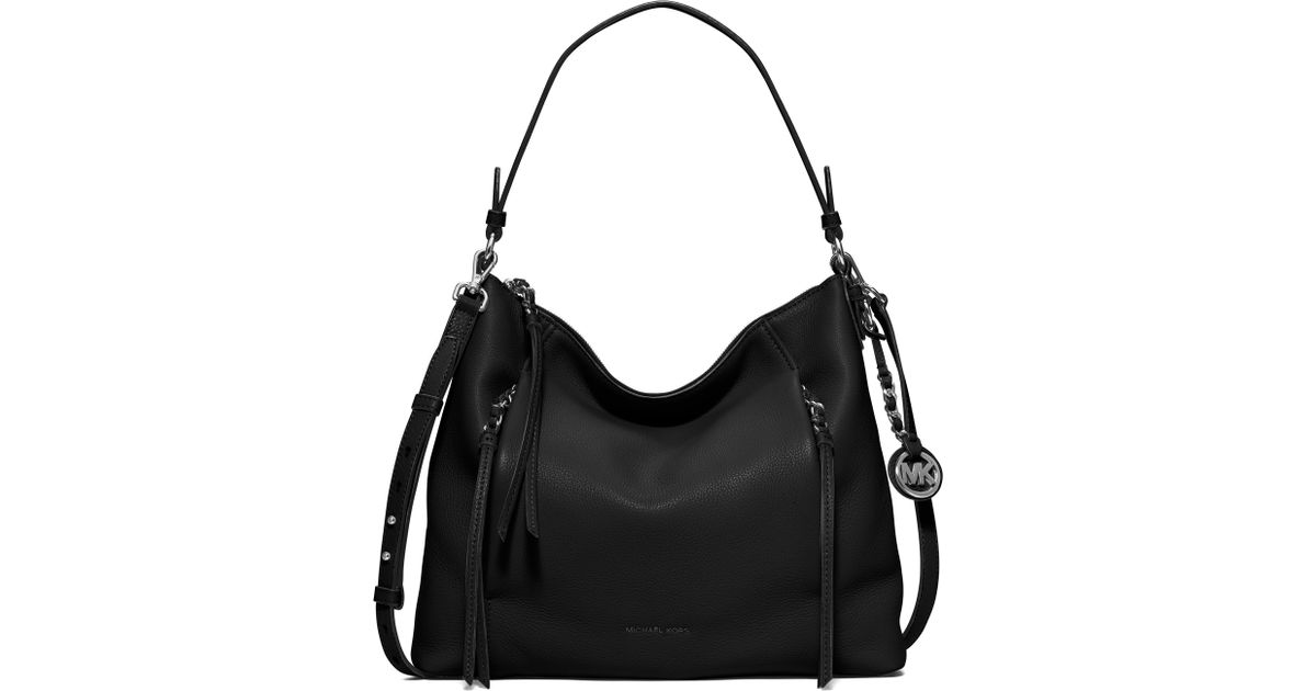 a7e81ac95b82e Lyst - MICHAEL Michael Kors Corinne Large Leather Shoulder Bag in Black