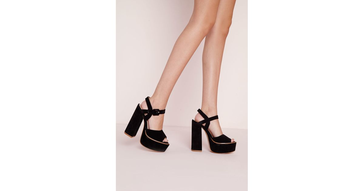 dfe4f067f58 Lyst - Missguided 70 s Platform Block Heel Sandals Black in Black