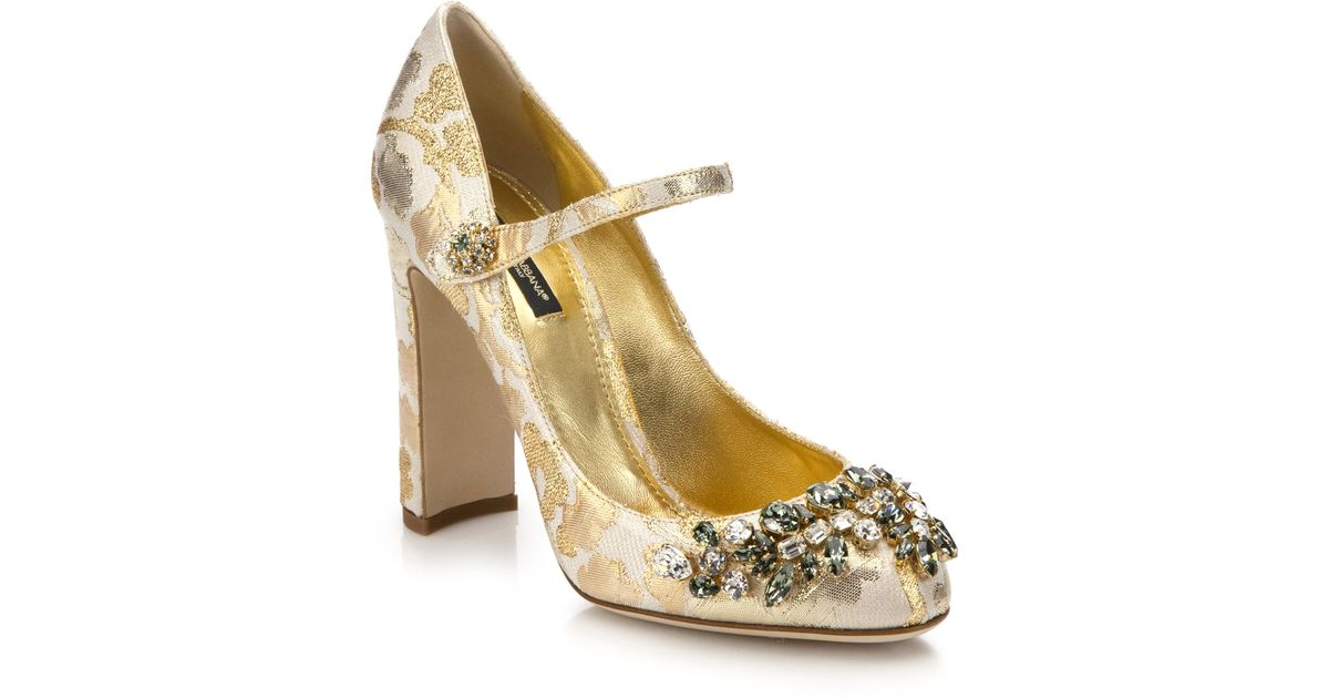 770a8dd36d34 Lyst - Dolce   Gabbana Embellished Brocade Mary Jane Pumps in Metallic