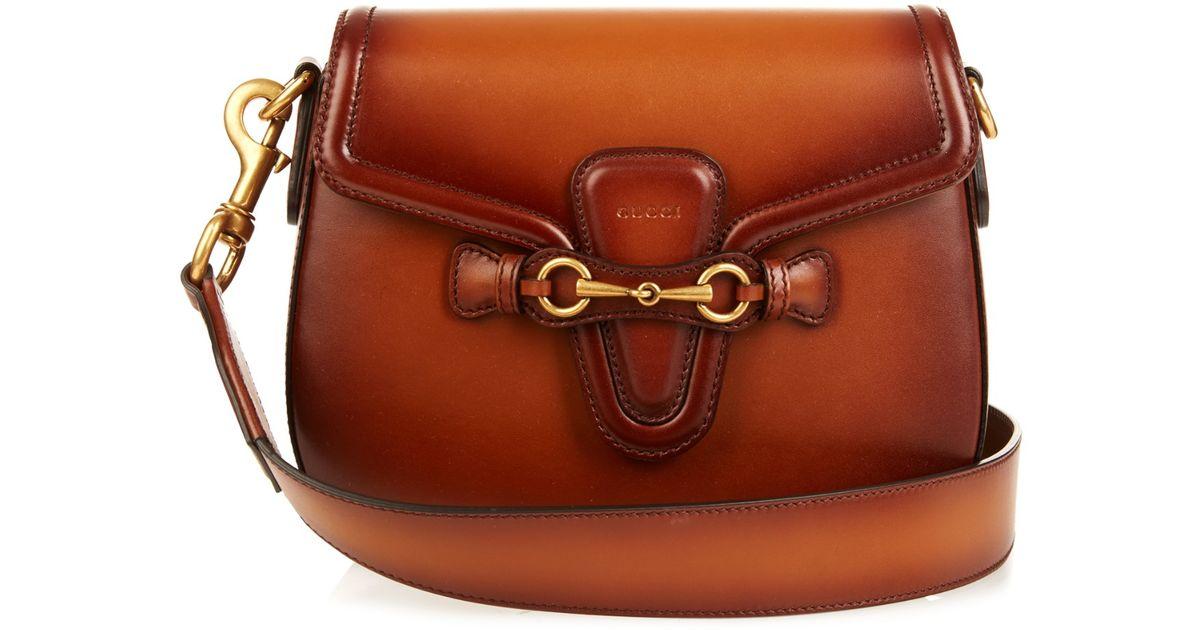72f8a09bd1b Lyst - Gucci Lady Web Medium Leather Shoulder Bag in Brown