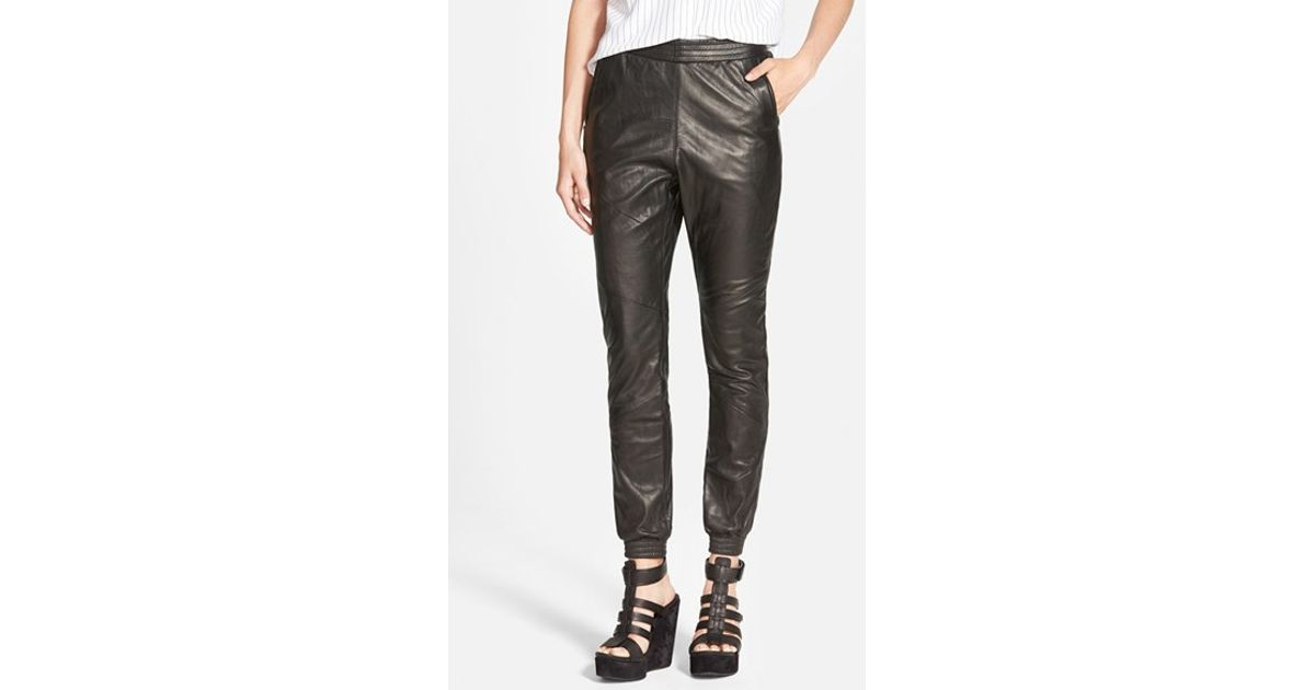 Luxury Home  Faux Leather Jogger Pants With Drawstring Plus Sizes Available