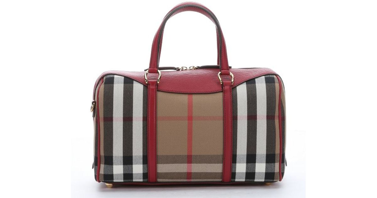 aee3cc355ede Burberry Brown Leather And House Check Canvas Medium  alchester   Convertible Bowling Bag in Red - Lyst