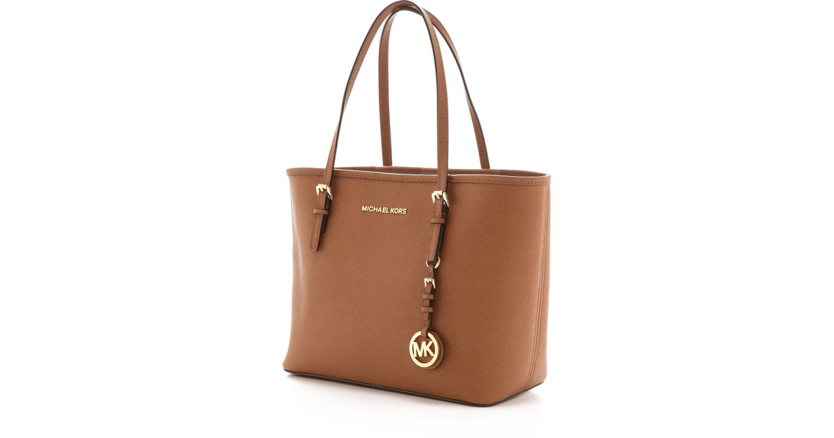 ... order lyst michael michael kors small jet set travel tote luggage in  brown 37f66 3604f 37ae493be1cd3