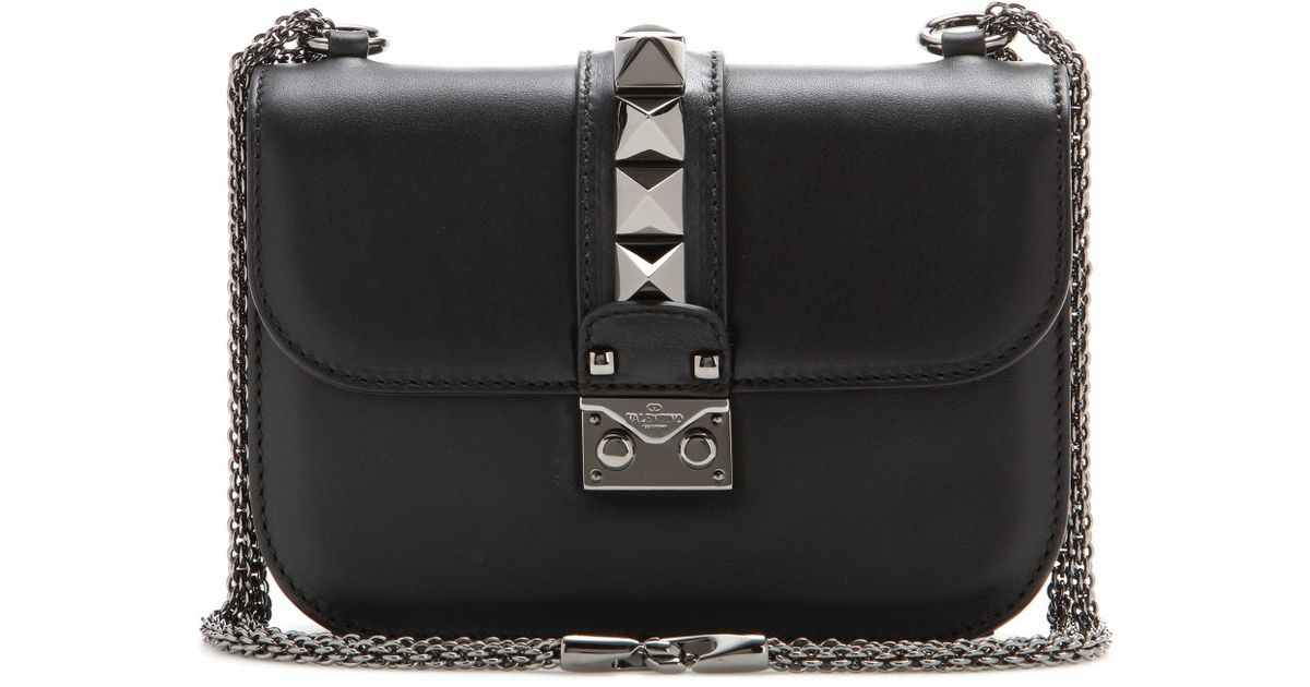 70a9cb0f09c Valentino Lock Noir Small Leather Shoulder Bag in Black - Lyst