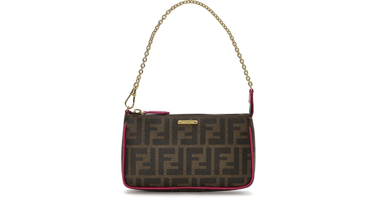 Lyst - Fendi Tobacco   Pink Zucca Small Pouch in Brown 16d643012d