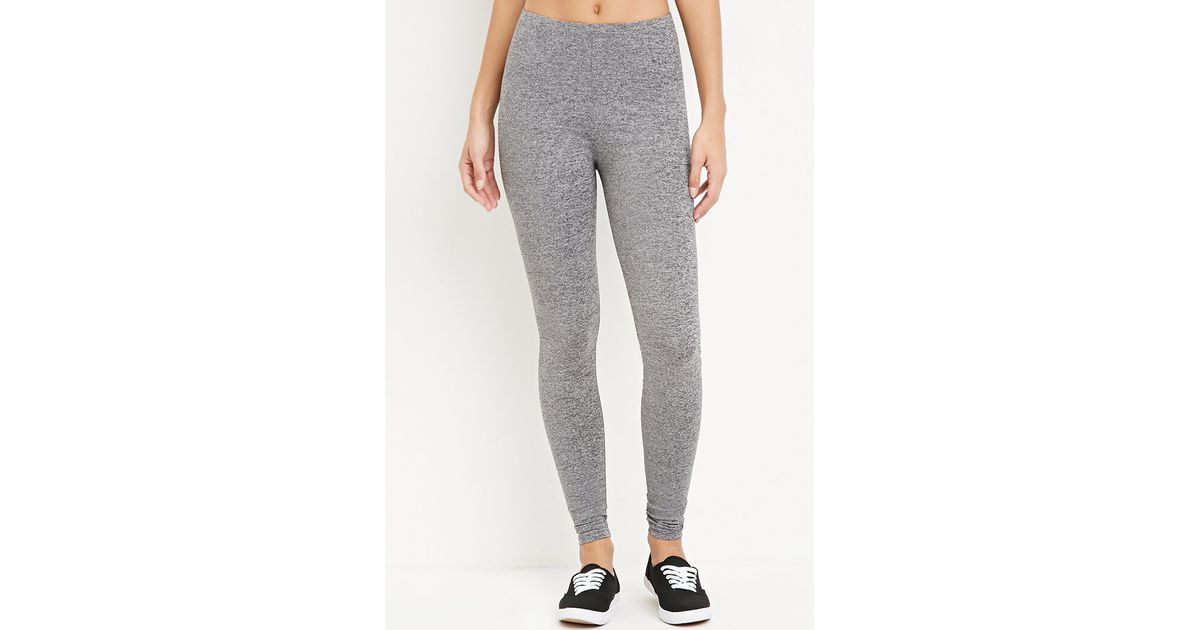 e7cbe7f9ab39b0 Forever 21 Stretch Knit Leggings , Charcoal Heather in Gray - Lyst
